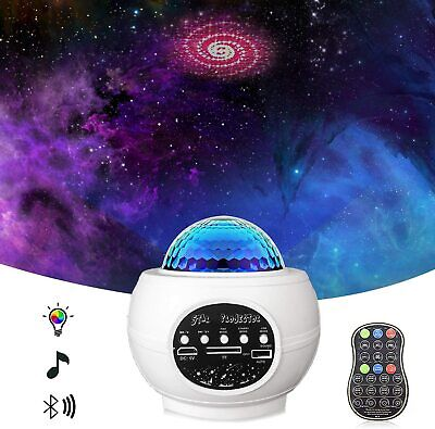 Galaxy Starry Night Lamp LED Star Projector Night Light Ocean Wave Music Speaker • 9.99£