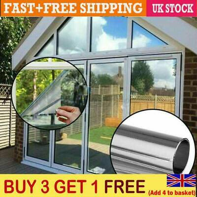 Mirror Reflective One Way Privacy Window Film Sticky Back Solar Glass Tint 1m • 6.99£