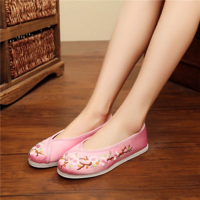 UK Chinese Embroidered Floral Shoes Women Retro Boats Flat Ballet Cotton Slip On • 16.99£