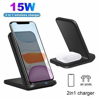 AU21.97 • Buy FDGAO 15W Qi Wireless Charger Stand Dock 2IN1 For Airpods 2/ Pro IPhone 11 XS XR
