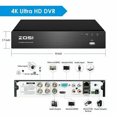 ZOSI 8MP 5MP DVR 8CH 4K CCTV System Ultra HD Recorder HDMI H.265+ Home Security • 89.99£