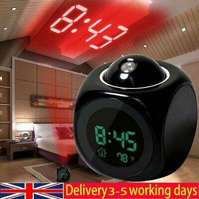 LED Digital Projection Alarm Clock Projector LCD Voice Talking Time Temperature • 6.99£