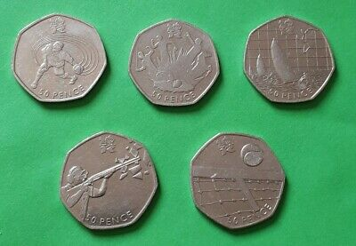 Olympic 50p X 5 Fifty Pence Coins Goalball Pentathlon Sailing Shooting Tennis • 3.25£