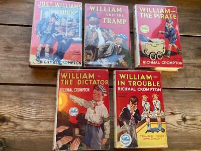 JUST WILLIAM X 5 Richmal Crompton Dictator Pirate Luck Tramp Trouble Newnes • 49.99£
