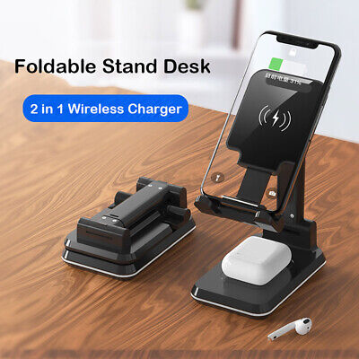 AU27.49 • Buy AU 2in1 Qi Wireless Charger Stand Dock Charging Pad For Airpods IPhone 11 XS 8 X