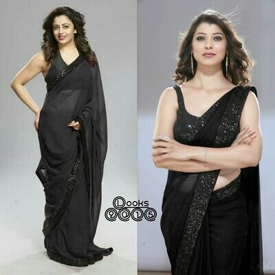 BLACK GEOEGETTE SARI Sequence EMBROIDERY WORK DESIGNER SAREE WITH LACE BORDER • 34.34£
