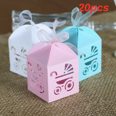 20pcs Laser Cut Carriage Gift Candy Boxes Christening Baby Shower Favour Boxes • 3.99£
