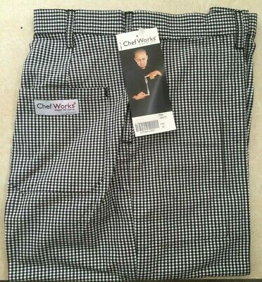 £19.91 • Buy Chef Works Check Chefs Trousers Pants Waist 26-50  BNWT Black Or Blue & White