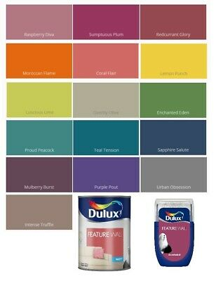 Dulux Retail Matt Feature Wall Paint - 1.25L And Tester - All Colours • 5.35£