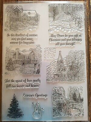 Clear Acrylic Stamp Set,A4 Set Of Christmas/winter Scenes & Sentiments • 5.50£