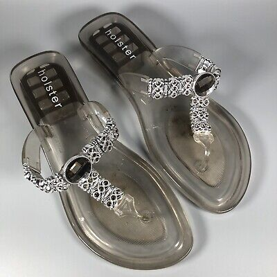 Holster Grey Jewelled Flip Flop Sandals Shoes. Great Condition. Size 7/38 • 14.99£