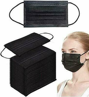 50 X Black Disposable Face Masks 3 Ply Non-medical Surgical Mask Sealed In Box • 6.99£