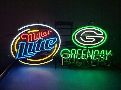 $524.99 • Buy Miller Lite Beer Green Bay Packers Motion Moving Flashing Neon Light Up Bar Sign