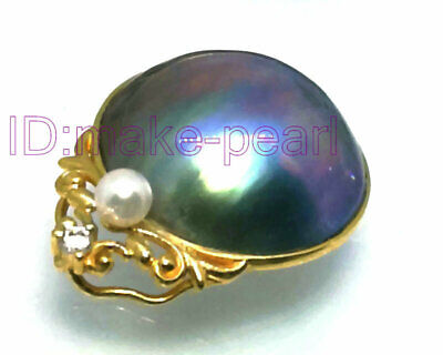 $333 • Buy ELEGANT 18mm AAA+ Sky-Blue Mabe South Sea Pearl 18K Solid Yellow Gold Pendant