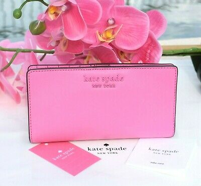 $ CDN65.44 • Buy 🌸 NWT Kate Spade Cameron Large Slim Bifold Wallet Leather Bright Peony New