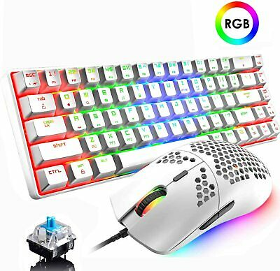 AU91.08 • Buy 60% Mechanical Gaming Keyboard Blue Switch Mini Wired And Lightweight RGB Mouse