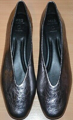 Ladies M&s Real Leather Metallic Pumps Flat Insolia Shoes Size 9 Pewter Silver • 16.99£