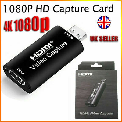 New HDMI To Video Capture Card 1080P HD Recorder Game/Video Live Streaming UK • 23.29£