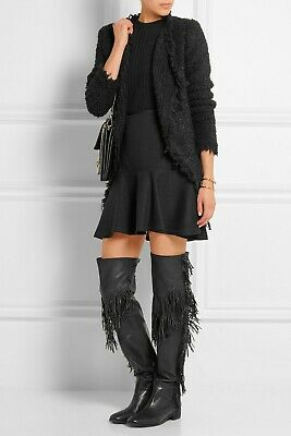 See By Chloé Fringed Over-the-Knee Boots Black Leather EU 36 UK 3 RRP £526! • 70£