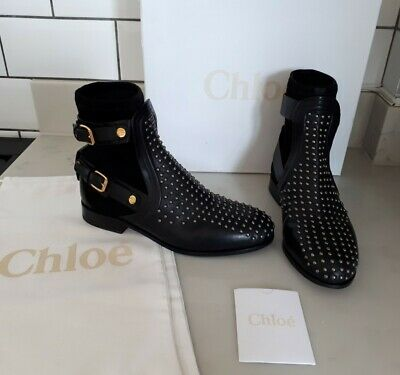 Chloe Leather Studded Ankle Sock Buckle Boots RRP £1100 3/36 Similar To Susanna • 165£