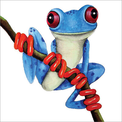 £2.75 • Buy Cute Blank Greeting Card By Artist Maria Moss Cards - Blue Tree Frog