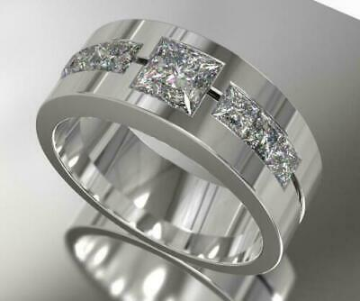 $279.99 • Buy Men's Band 14K White Gold Engagement Wedding Ring Special Occasion 2.3Ct Diamond