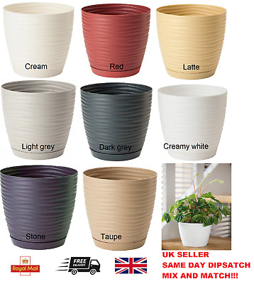 £6.49 • Buy Plastic Plant Pot With Saucer Planter With Drainage Holes Round 3D Sahara