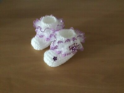 Baby Girls New Hand Knitted Booties Newborn White / Lilac Lace & Butterfly • 1.99£