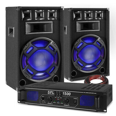 PA Speaker System Set With Power Amplifier Mobile Disco DJ Party BS-15 Inch • 235£