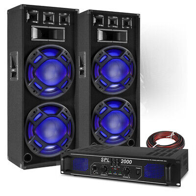 PA Speaker System Set With Power Amplifier Mobile Disco DJ BS-2X Double 15 Inch • 309£