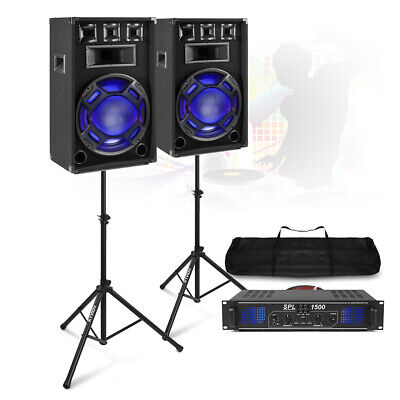 PA Speaker System Set With Power Amplifier & Stands Mobile Disco DJ Party BS-15 • 269£