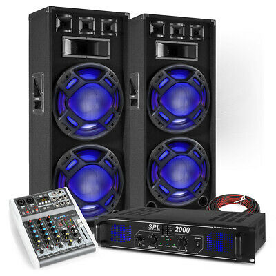 PA Speaker System, Bluetooth Mixer And Amplifier Mobile Disco DJ Set BS-215 • 399£
