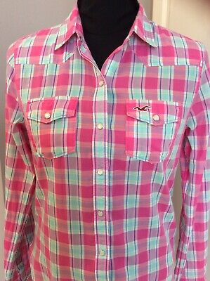 Hollister Pink Checked Womens Shirt - Size XS - 8 • 3.99£