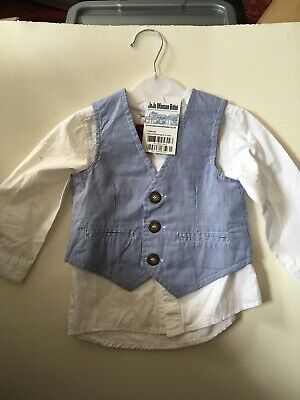 Baby Boy Clothes 6-9 Months Jojo Maman Bebe Waistcoat H&M Shirt Tie Outfit BNWOT • 2.75£