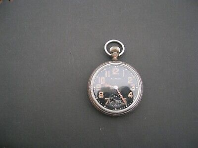 Vintage Gents WALTHAM WW2 Military Issued Black Faced POCKET WATCH WORKING • 45£