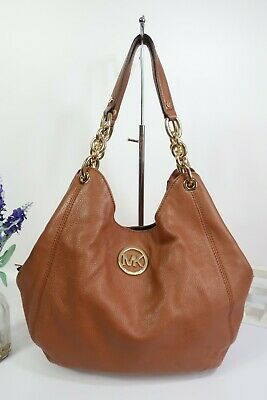 MICHAEL KORS  Fulton  Shoulder Tote Chain Bag Large Tan Leather ~ Very Good Con  • 12£