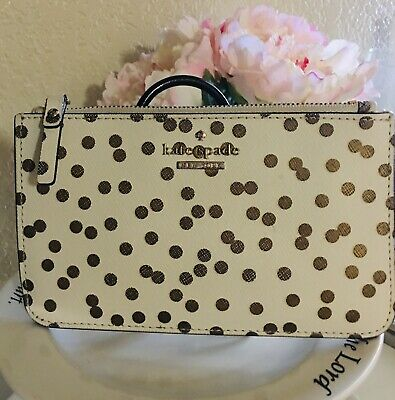 "$ CDN32.67 • Buy Kate Spade New York Wristlet Wallet White And Gold, Polka Dots 7"" X 4.5"""