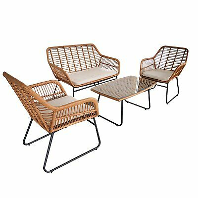 AU429.99 • Buy 4pc Lounger Set Outdoor Furniture Rattan Wicker Chair Table Garden Patio Balcony