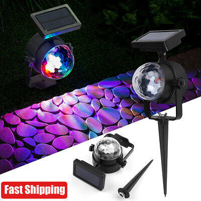 Solar Spot Lights LED Colour Changing Projection Stake Garden Party Stage Light • 10.89£