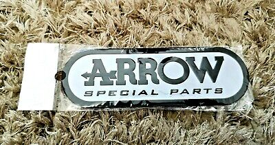 Arrow White & Black Motorbike / Motorcycle Heatproof Exhaust Sticker / Decal • 5.75£