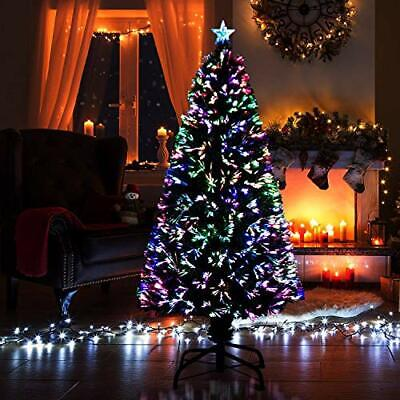 SHATCHI 3ft 90cm Fibre Optic Christmas Tree Various Effects Xmas Decoration, • 37.54£