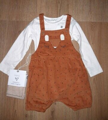 Next Girls Fox Dungarees Tights & Bodysuit Set 12-18 Months New With Tags  • 3£