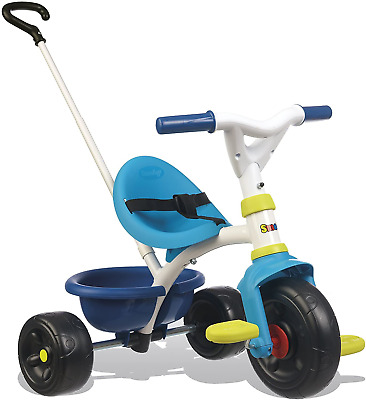 Smoby Blue 2-in-1 Push Along Trike With Parent Handle And Kids Forst Tricycle - • 56£