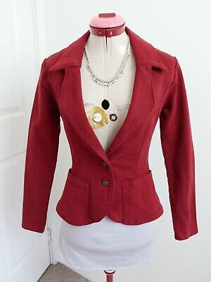 AU46.95 • Buy TIGERLILY Dark Red JACKET Size 6 Denim Pockets Long Sleeves Fitted Casual