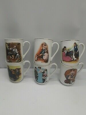 $ CDN20.43 • Buy Vtg 6 Norman Rockwell Cups Mugs Back To School Vacation Is Over 1981 1982