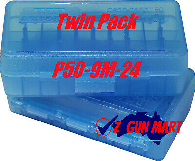 AU14.49 • Buy MTM Pistol Ammo Box 50 Round Flip-Top 9mm 380 ACP Clear Blue P50-9M-24 2 Pack