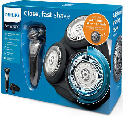 AU169.89 • Buy Philips Wet & Dry Cordless Shaver Series 5000 + 3 Replacement Blades S5290/88