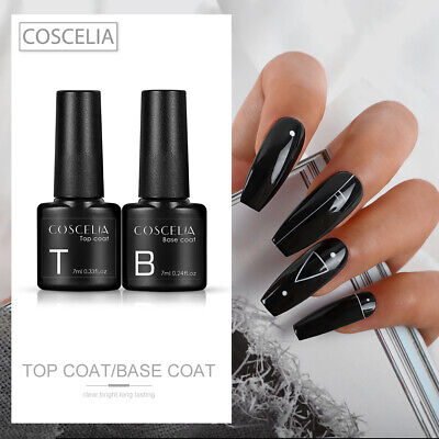 Top & Base Coat Gel Nail Polish Set | Soak Off UV LED Nail Varnish | COSCELIA UK • 5.99£