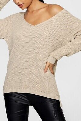 Boohoo Nude Beige Brown Chunky Knit Jumper Slouchy Fit Oversize ASOS Size M L 12 • 8£