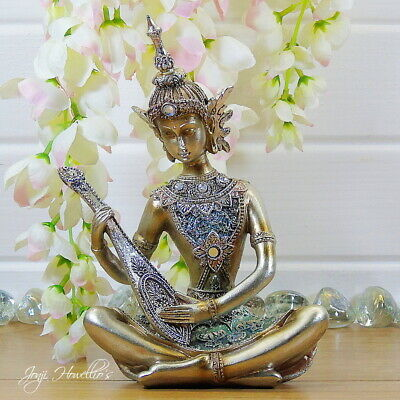 Thai Buddha Ornament Playing Lute Statue Sculpture Home Decoration 20 Cm Gold • 12.90£
